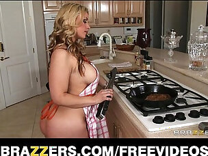 Busty blonde wife helps her man celebrate steak and a blowjob day