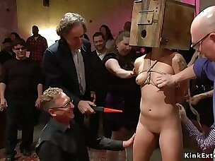 Asian slave is rough nailed in public